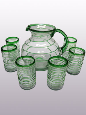 COLORED RIM GLASSWARE / 'Emerald Green Spiral' pitcher and 6 drinking glasses set